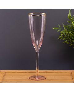 Taça de Champanhe Rosa com Filete Dourdo 230ml Solecasa - Rosa