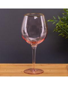 Taça de Vinho Rosa Filete Dourado 480ml Solecasa - Rosa