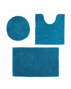 Tapete Banheiro 3Pcs Dobby - Azul