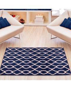Tapete Lotus 1,00x1,50m para Quarto e Sala Havan - Corrente Azul e Branco