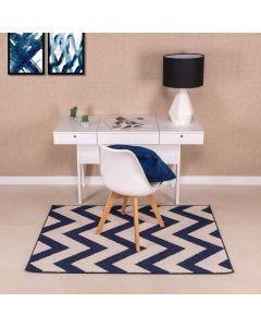 Tapete Lotus 1,00x1,50m para Quarto e Sala Havan - Chevron Azul e Branco