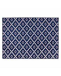 Tapete Lotus 1,00X1,50M Para Quarto E Sala Havan - Geométrico Azul