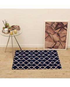 Tapete Lotus 57x1,00m para Quarto e Sala Havan - Corrente Azul/Branco