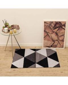 Tapete Lotus 57x1,00m para Quarto e Sala Havan - Triangulo Cinza/Branco