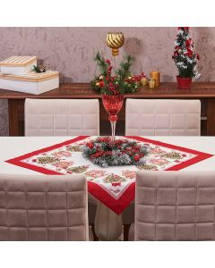Toalha Centro de Mesa 78cm x 78cm Natal Karsten - Tempo de Apreciar