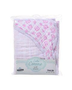 Toalha de Banho Bebê 85cm x 85cm Compose Soft Minasrey - Rosa