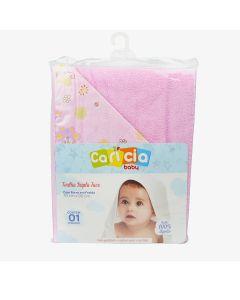 Toalha de Banho Infantil 70cm x 90cm Dupla Face Caricia - Rosa