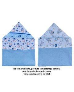 Toalha De Banho Infantil 70Cm X 90Cm Dupla Face Caricia - Azul