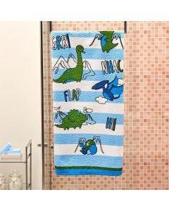 Toalha de Banho Infantil Estampada Lepper - Dino Azul