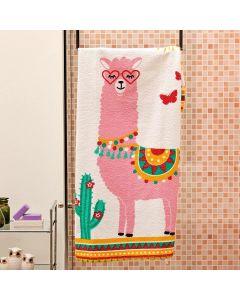 Toalha de Banho Infantil Estampada Lepper - Lhama Rosa