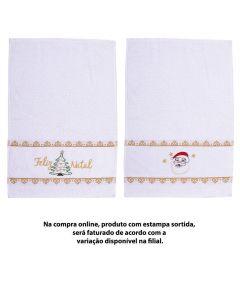 Toalha Lavabo Felpuda Natalina - Branco