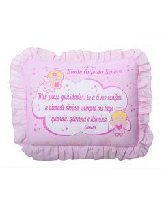 Travesseiro com Babado 28x35cm Cia do Neném Minasrey - Rosa