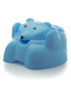 Troninho com Tampa Urso Plástico Higiênico Yoyo Baby - AZUL