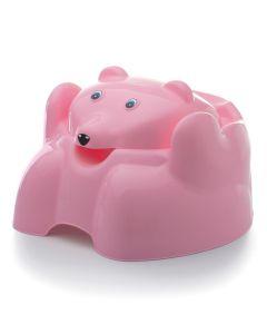 Troninho com Tampa Urso Plástico Higiênico Yoyo Baby - ROSA