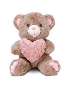 Urso De Pelúcia Encanto Avelã Com Coração Peludo 39 Cm Cortex - 0269