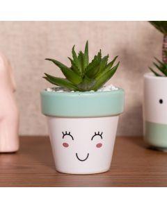 Vaso Decorativo com Planta Artificial 12cm Yaris - Branco