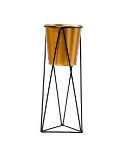 Vaso Decorativo Com Suporte 11X29,5Cm Yaris - Dourado e Preto