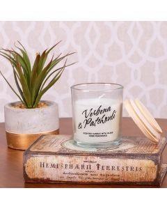 Vela Aromatica Vidro C/Tampa De Madeira - Branco