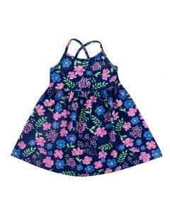 Vestido de 1 a 3 Anos Alcinha Floral Fakini Floral Marinho