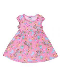 Vestido de 1 a 3 Anos Malha Estampado Fakini Rosa