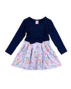 Vestido de 1 a 3 Anos Sublimado Brandili Marinho