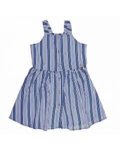 Vestido de 4 a 10 Anos Popeline Fakini Listras Marinho