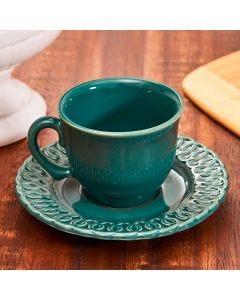 Xícara com Pires para Chá Arcos - Verde