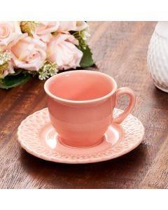 Xícara com Pires para Chá Arcos - Salmao