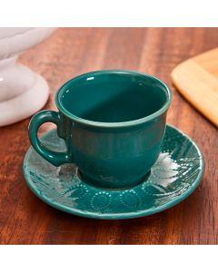 Xícara com Pires para Chá Bombaim - Verde