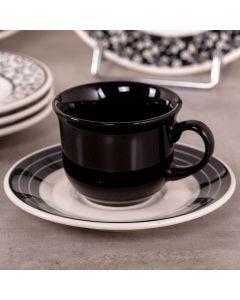 Xícara de Chá com Pires Arabescos 200ml - Ceramica