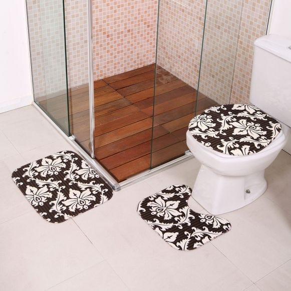 Jogo De Tapetes Para Banheiro Antiderrapante Preto