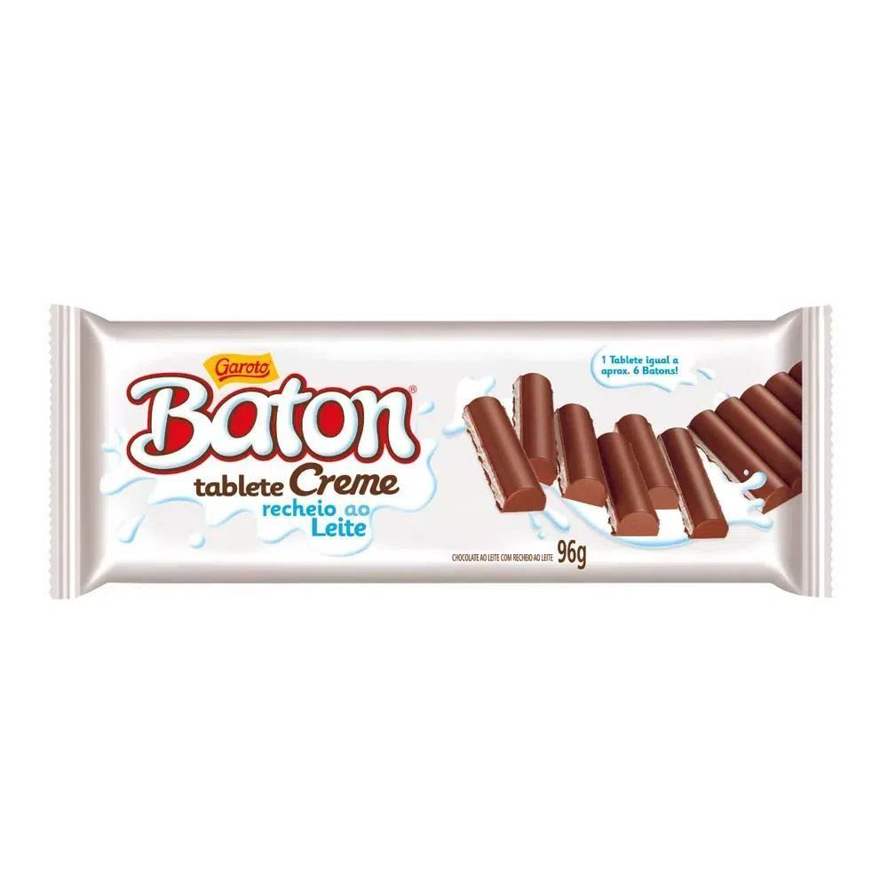 Tablete Garoto Baton Creme Recheado 96G - 96g
