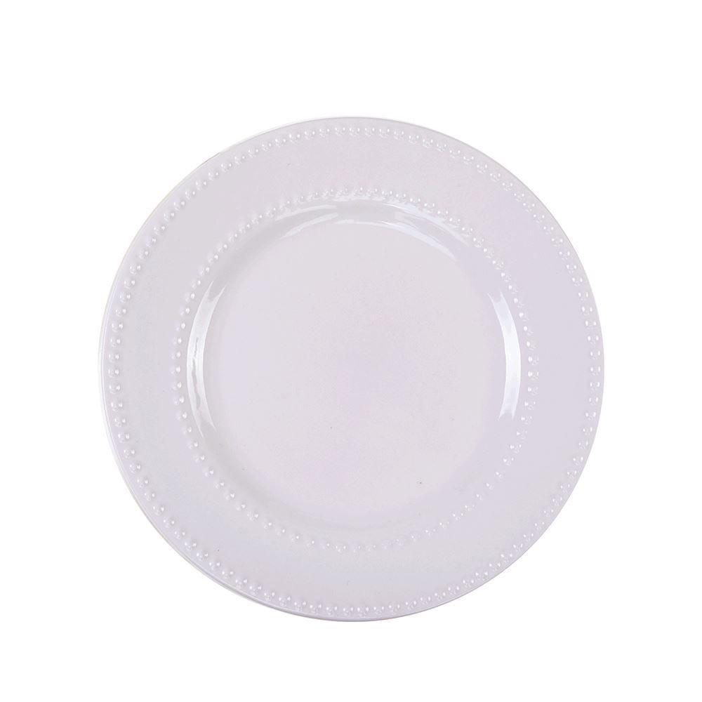 Prato Sobremesa New Bone Pearl 20Cm - Porcelana