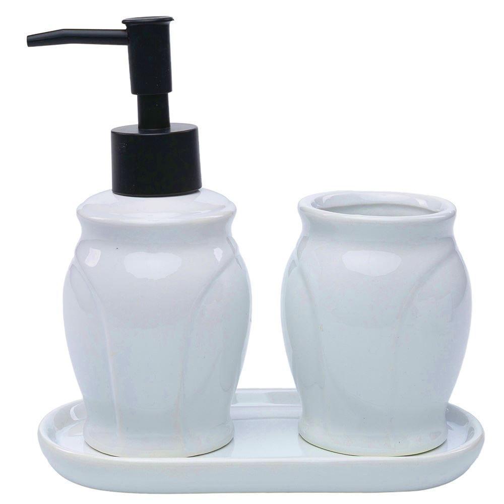 Conjunto Banheiro Paris 3Pc - Preto e Branco