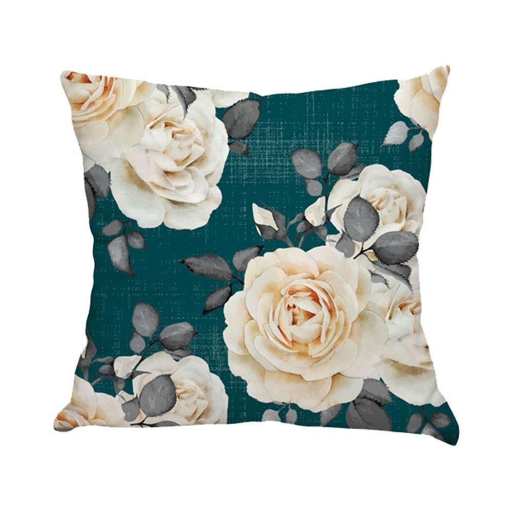 Almofada Decorativa 45X45cm Estampada Com Zíper - Rosas Pinho