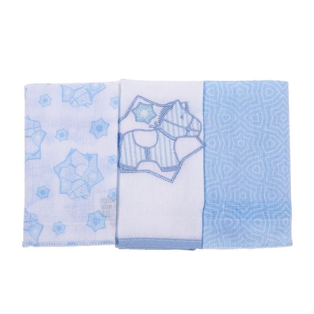 Pano De Boca Bordado 3  Peças Compose - Menino Azul