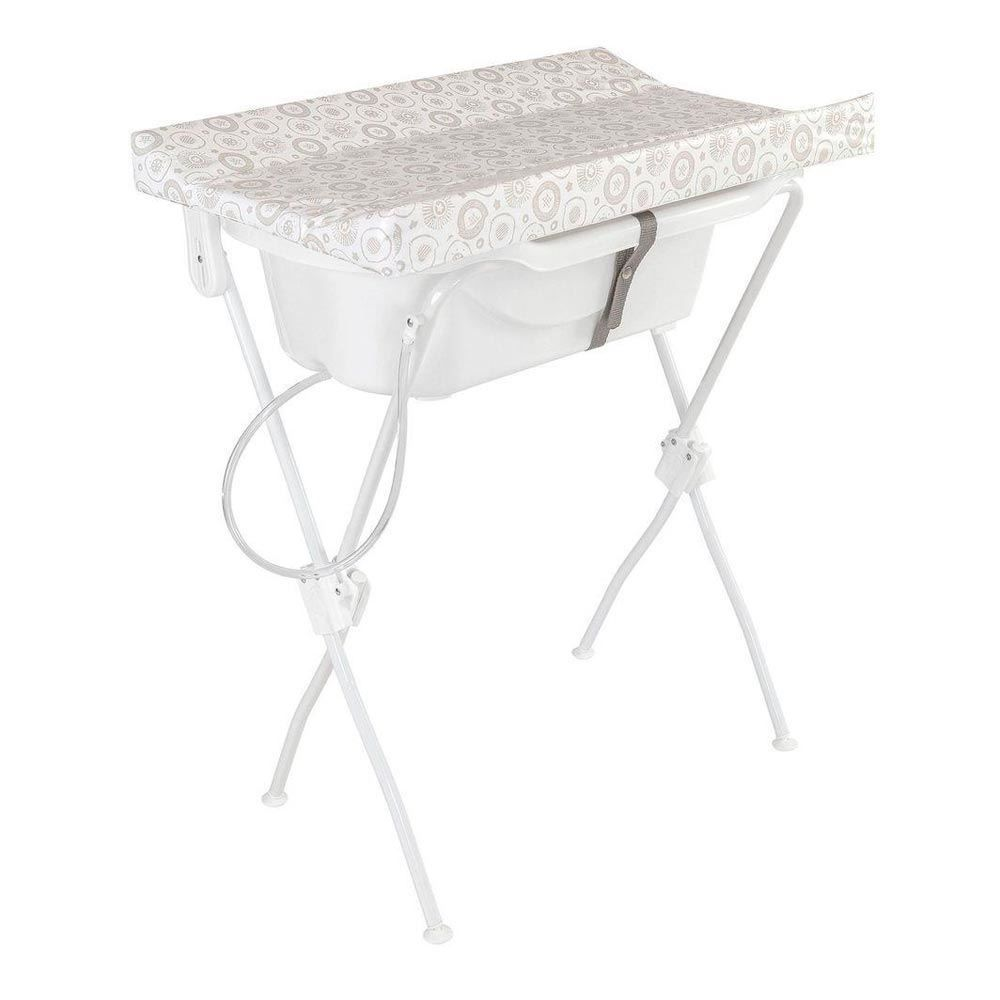 Banheira com Trocador Estampado Floripa Tutti Baby - Branco Espacial
