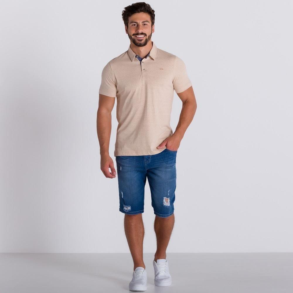 Bermuda Jeans em Lavagem Média Marc Alain