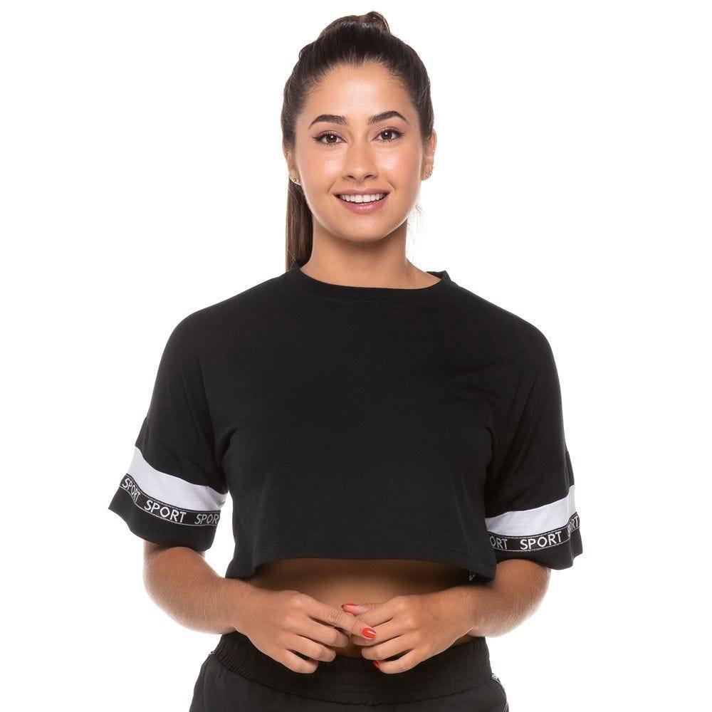 Blusa Cropped com Fita Decorativa Sport Scream