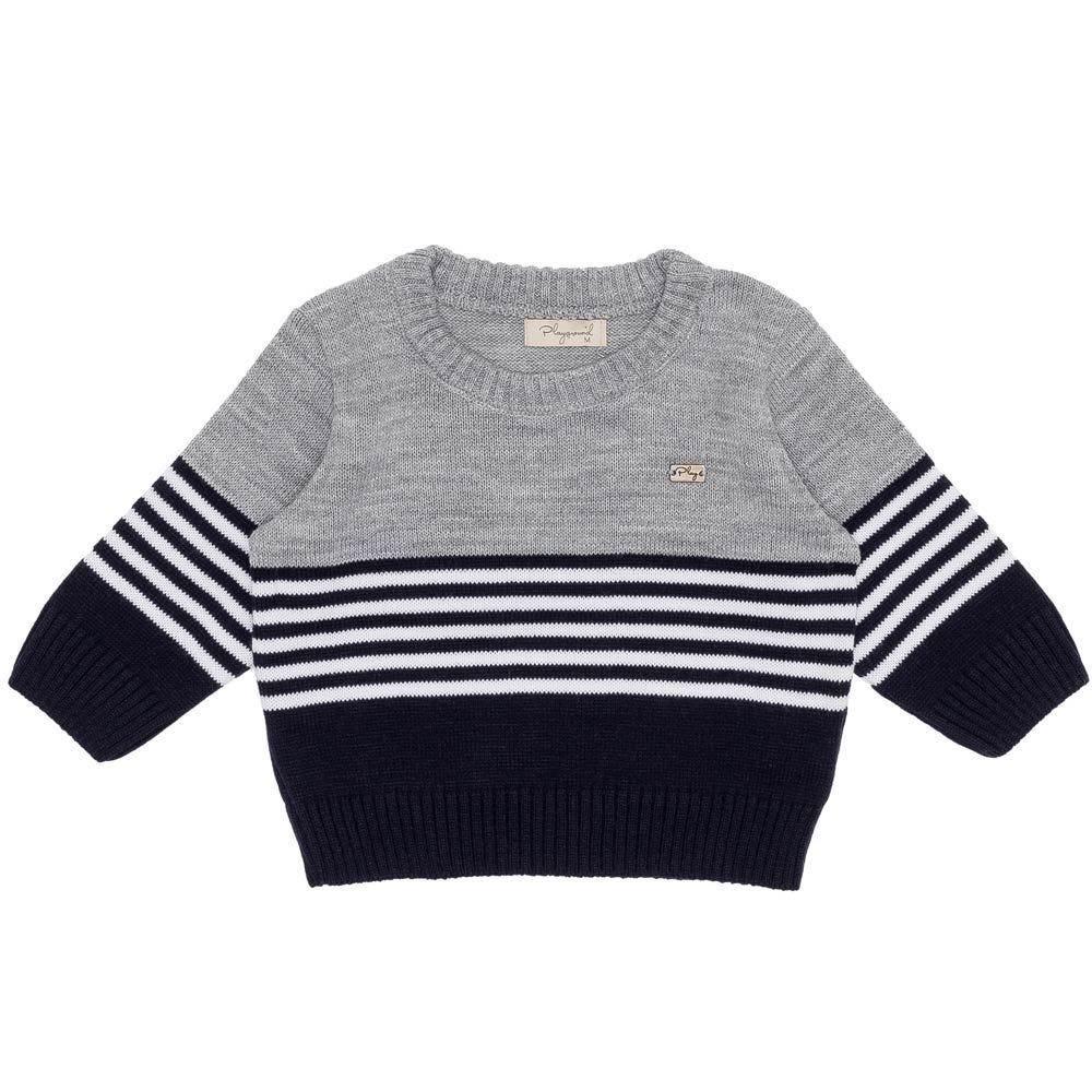 Blusão de Bebê Tricot Listras + Pingente Fakini