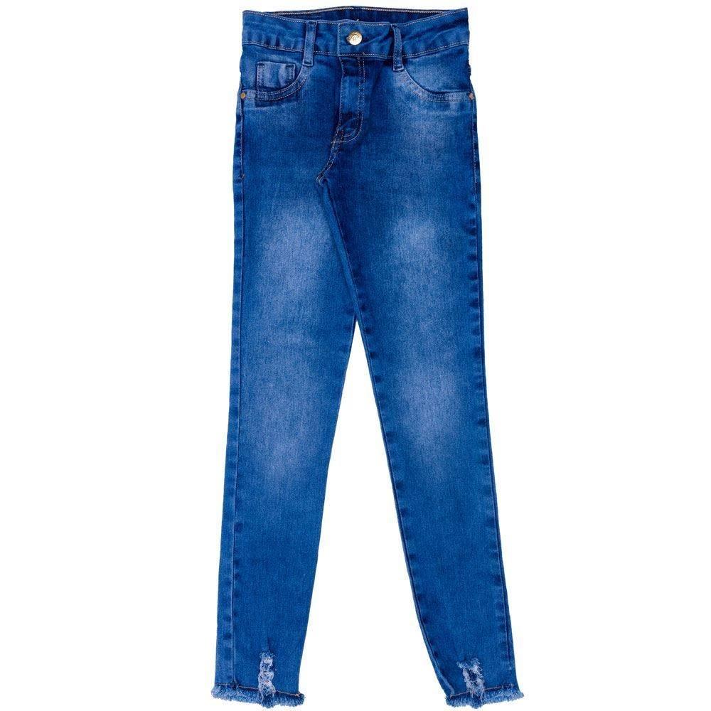 Calça 12 a 16 anos Jeans Jegging + Rasgo Barra Marmelada