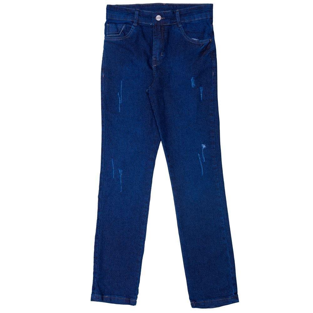 Calça 12 a 16 anos Jeans Skinny + Puídos Hot Dog