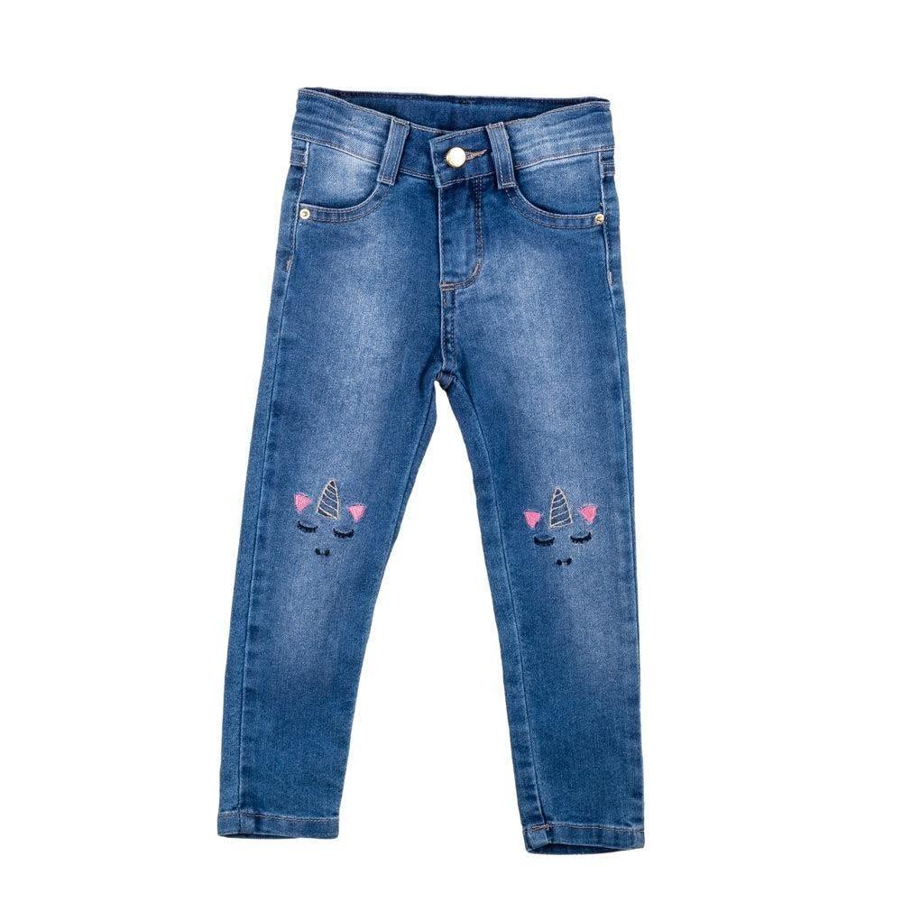 Calça de 1 a 3 Anos Jeans com Bordado Yoyo Kids