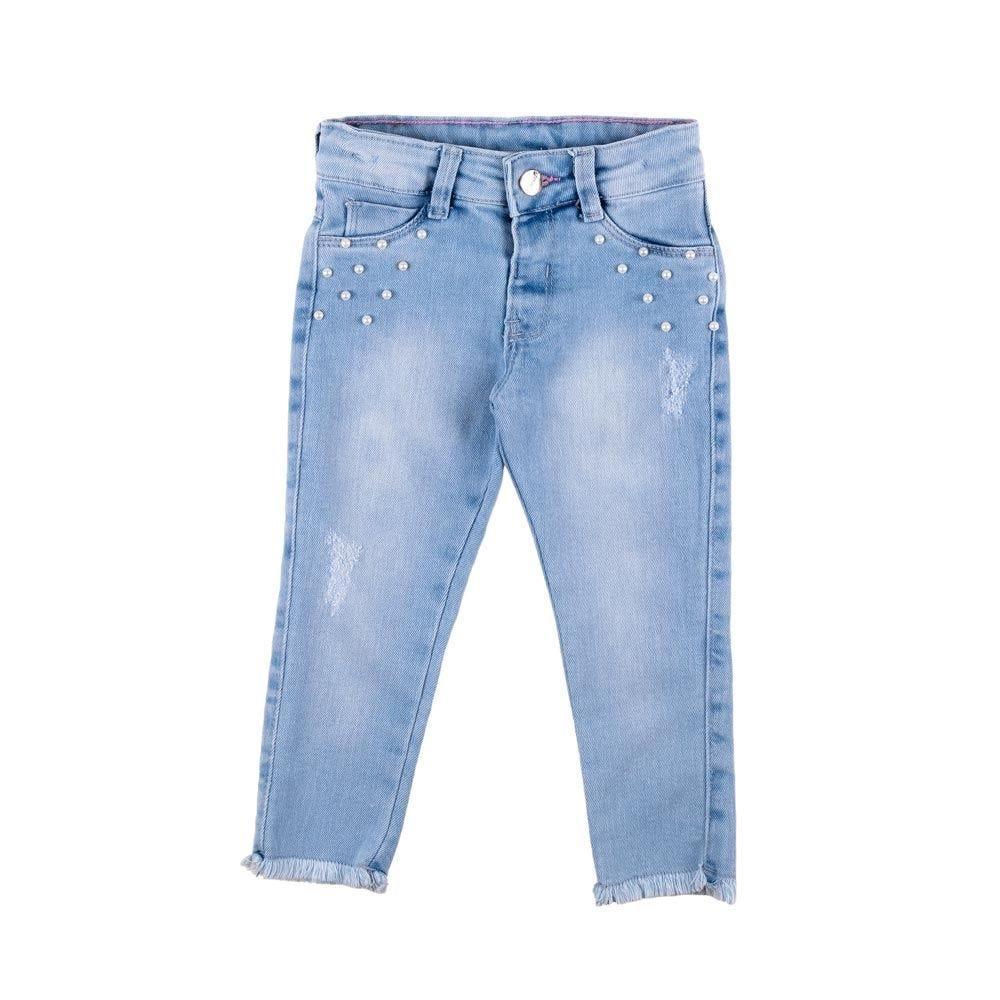 Calça de 1 a 3 Anos Jeans com Pérolas Yoyo Kids
