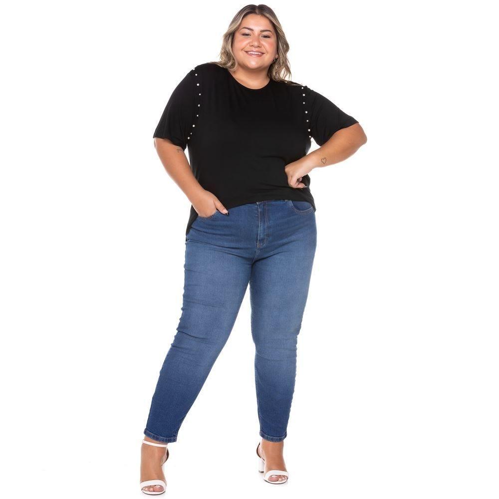 Calça Jeans Cigarrete Plus Size com Used Patricia Foster Mais