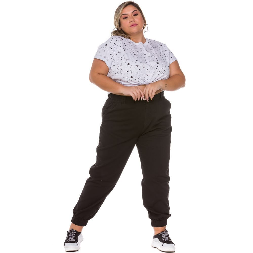 Calça Plus Size Sarja Jogger Patricia Foster Mais