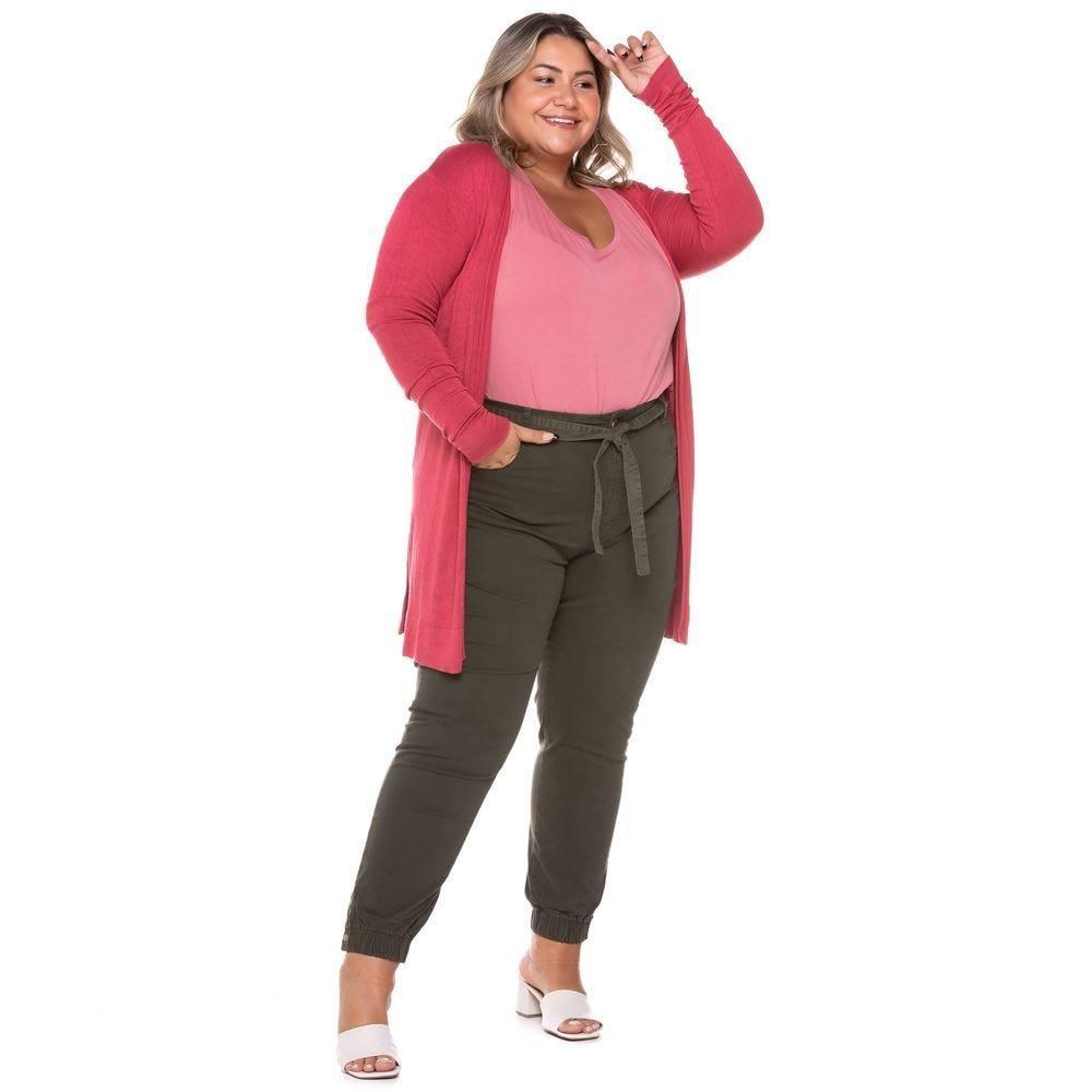 Calça Sarja Plus Size Jogger com Cinto Sawary