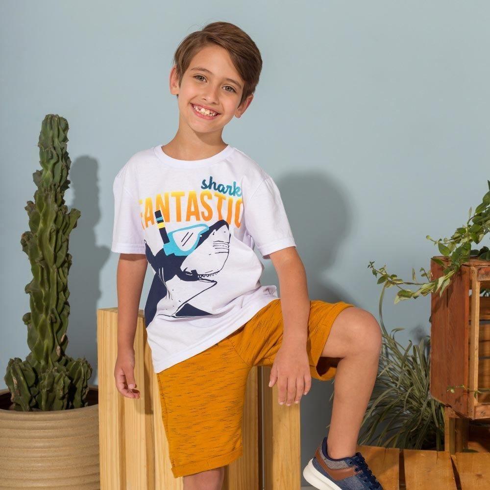 Camiseta 4 a 10 anos Fundo do Mar Hot Dog