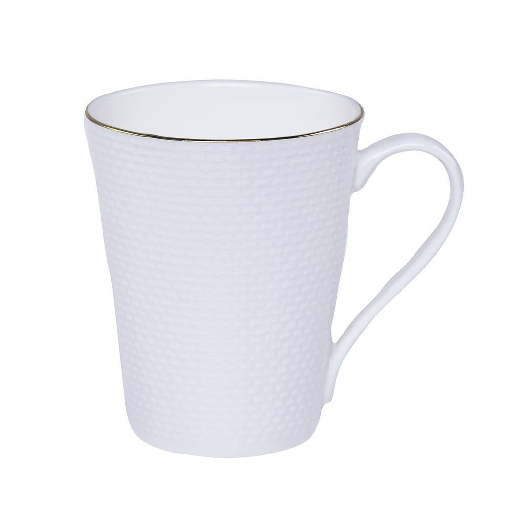 Caneca Com Filete De Ouro 300Ml Hira Elizabeth Havan - Porcelana