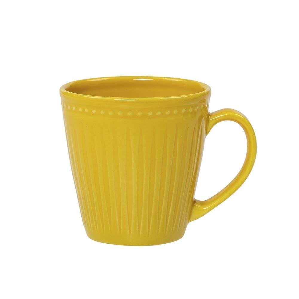 Caneca De Cerâmica Relieve 300Ml Corona - Amarelo